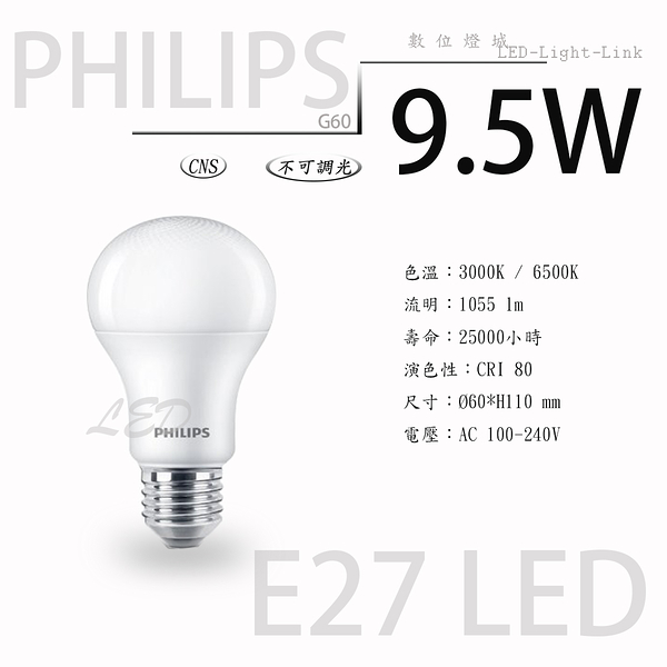 PHILIPS 飛利浦 E27 LED燈泡 9.5W A60球泡燈【數位燈城 LED-Light-Link】舒視光技術