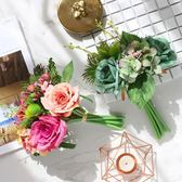 仿真花 假花 仿真如意玫瑰花手札花束客廳餐桌假花絹花花瓶插花擺件新娘手捧花