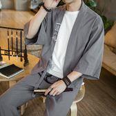 禪服古風改良漢服套裝男士唐裝短袖開衫和服道袍茶服居士服 快速出貨