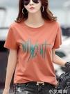 純棉短袖女t恤夏裝2021年新款半袖洋氣T桖衫中年寬鬆體桖汗衫全棉 小艾新品