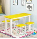 實木快餐桌椅組合小吃店桌椅學校員工食堂餐桌現代簡約4人