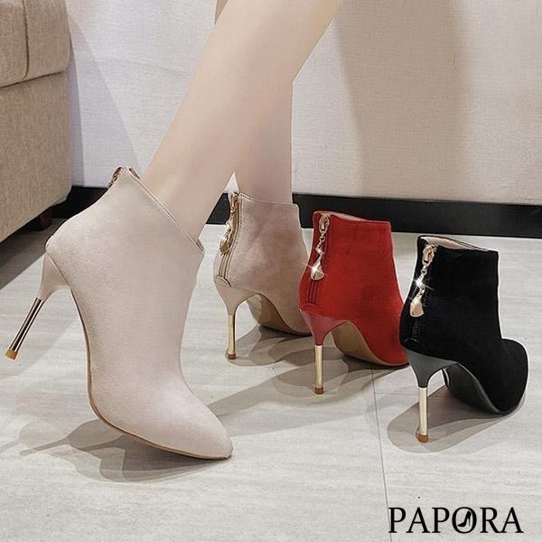 PAPORA高雅V口後拉錬顯瘦高跟中筒靴短靴KK00黑色 / 米色