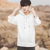 韓版寬鬆連帽短袖T恤男純色七分袖長袖T恤五分袖青少年潮