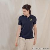 【GIORDANO】男裝麋鹿漸層刺繡短袖POLO衫 - 83 標誌海軍藍
