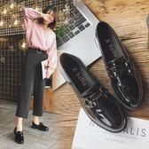 娃娃鞋 小皮鞋女學生韓版平底百搭中跟原宿英倫秋鞋黑色鞋子【蘇迪蔓】