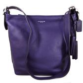 COACH LEGACY全皮革燙銀LOGO流蘇吊飾肩背、斜背、兩用包、水桶包(紫色)-19889