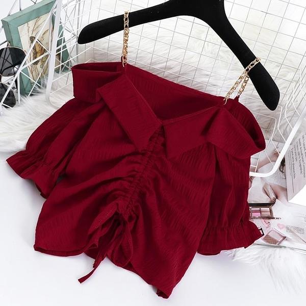 一字肩 甜美一字領露肩吊帶背心女外穿2021夏季韓版抽繩設計感小眾泡泡袖上衣