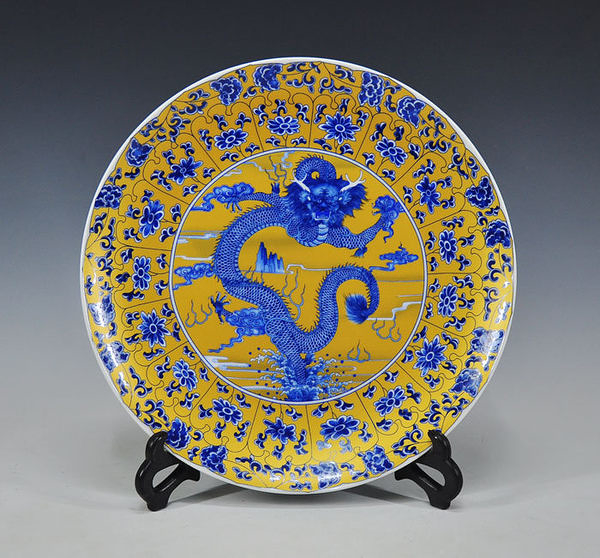 陶瓷看盤擺件 招財龍紋工藝品