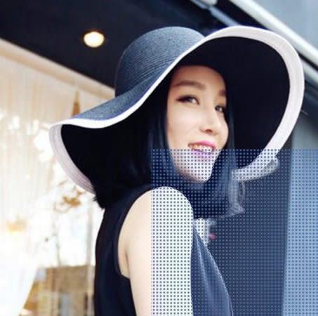 [協貿國際]  女士夏天旅遊條紋折疊度假帽遮陽帽 (1入)