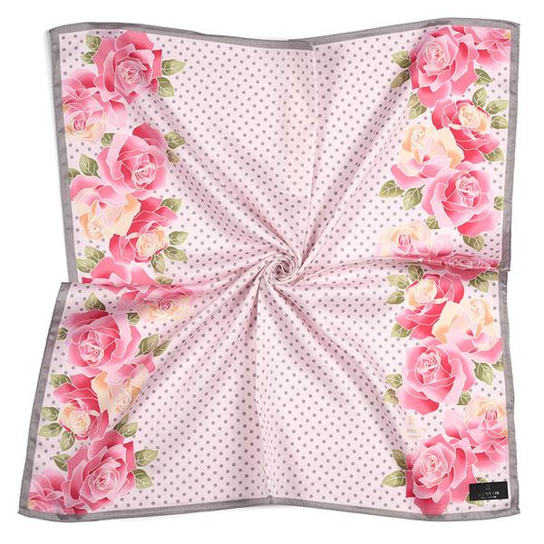 LANVIN浪凡玫瑰點點印花純綿帕領巾(粉紅色)989034-14