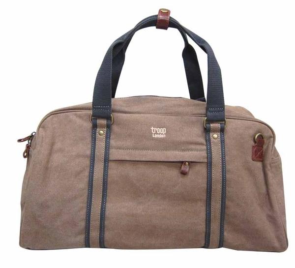 ~雪黛屋~旅行袋troop英國精典帆布中大容量旅行袋100%英國純棉手提可肩背斜背耐磨耐髒耐承重量