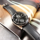 TOMMY HILFIGER / 1791836 / 都會休閒風 三眼三針 日本機芯 星期日期 真皮手錶 黑x香檳金框 44mm