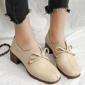 高跟鞋.甜美純色蝴蝶結V口方頭粗跟包鞋.白鳥麗子