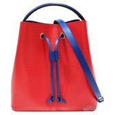 【Louis Vuitton 路易威登】M54365 經典Neonoe系列帆布印花牛皮鑲飾束口斜背/肩背水桶包(罌粟紅色)