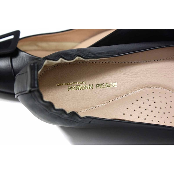 HUMAN PEACE 尖頭跟鞋 粗跟 黑色 女鞋 鬆緊 no375