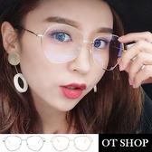 OT SHOP眼鏡框‧韓系多邊形框不規則眼鏡框復古文青穿搭金屬平光眼鏡‧銀/金‧現貨兩色‧U53