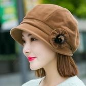 針織帽 女秋冬天羊毛貝雷帽盆帽漁夫帽正韓針織毛線帽八角帽英倫【快速出貨】