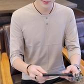 七分袖T恤 2020春季新款男士韓版七分袖T恤半袖夏季短袖打底衫體恤潮流衣服 3色