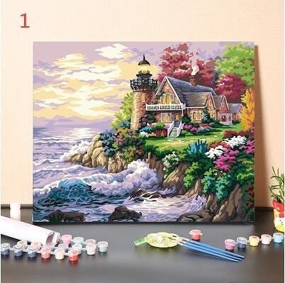 海邊的夢 浪漫地中海 數字油畫填色油彩畫客廳裝飾畫風景減壓解悶手工填充畫畫diy