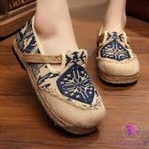 民族風女鞋 復古亞麻繡花鞋鞋 草鞋 平底圓頭鞋 降價兩天