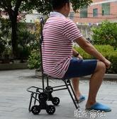 爬樓帶椅子便攜購物車買菜車小拉車折疊手拉車行李車拉桿超市家用  交換禮物