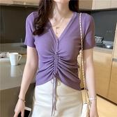 短袖針織上衣 t恤女夏裝V領冰絲針織短袖抽繩紫色上衣半袖-Ballet朵朵