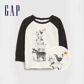 Gap嬰兒 時尚撞色插肩袖圓領長袖T恤 622886-象牙白