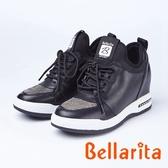 bellarita.造型水鑽內增高休閒鞋(8957-98黑色)