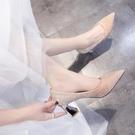 主婚紗婚鞋2021年新款結婚鞋子新娘鞋香檳色高跟伴娘鞋粗跟單鞋女 快速出貨