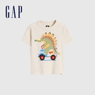 Gap男幼童 布萊納系列 純棉童趣圓領短袖T恤 681413-灰白色
