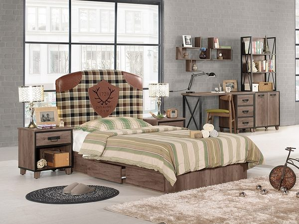 【森可家居】哈麥德3.5尺抽屜式床底(不含床頭片) 8CM549-2 單人床底 木紋質感 LOFT復古工業風