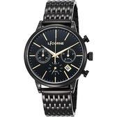 LICORNE力抗 撼動時尚三眼計時手錶-鍍黑/43mm LI097MBBI