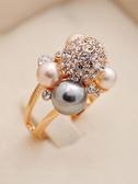 戒指 正韓網紅時尚人造珍珠歐美個性夸張潮人戒指女食指指環配飾飾品