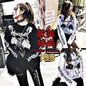 克妹Ke-Mei【AT48678】獨家,愛死了!龐克蝙蝠字母袖圖印U領T恤上衣