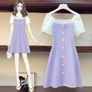 VK精品服飾 韓國風大碼拼接顯瘦優雅浪漫短袖洋裝