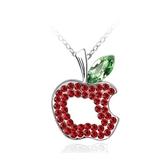水晶項鍊+925純銀吊墜-蘋果造型生日情人節禮物女飾品6款73bb335【時尚巴黎】