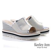 Keeley Ann極簡魅力 網布拼接厚底一字拖鞋(銀色) -Ann系列