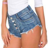 衣美姬♥歐美 修身顯瘦 短牛仔褲 前造型扣子 高腰短褲 修身顯瘦款短褲