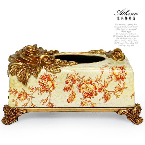 【雅典娜家飾】立體金玫瑰仿大理石紋復古紙巾盒-EB05