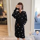 孕婦洋裝 秋冬連身裙2020新款時尚寬鬆針織毛衣外出餵奶可哺乳連身裙 2色