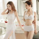 梨卡 - 韓版天使純真罩衫外衫紗質[集中-有鋼圈]高腰遮肚三件式比基尼泳裝泳衣C909