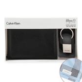 Calvin Klein荔枝紋皮革可拆式證件短夾鑰匙圈禮盒(黑色)103000-1