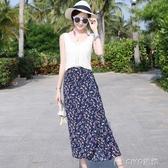 夏季海邊度假波西米亞性感腰帶開叉款巴黎珠面料半身長裙 ciyo黛雅