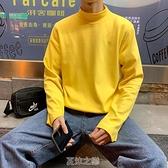 潮牌ins半高領t恤男長袖韓版秋季港風純色休閒打底衫學生簡約上衣 快速出貨