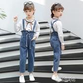 女童吊帶褲 女童牛仔吊帶褲2019新款春秋童裝韓版兒童洋氣長褲女孩寬鬆套裝