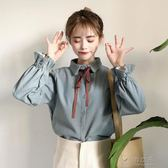 新款韓版蝴蝶結喇叭袖學生小清新長袖打底襯衫女   俏女孩