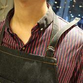 圍裙牛仔布圍裙西餐男女韓時尚咖啡店工作服美術培訓定制廣告LOGO(中秋烤肉鉅惠)