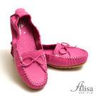 專櫃女鞋 縫線蝶結豆豆底懶人鞋-艾莉莎Alisa【8803】桃紅色下單區