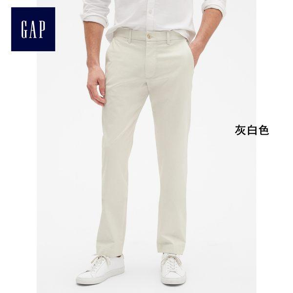 Gap男裝 基本款舒適時尚彈力卡其長褲 320802-灰白色