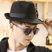 韓版時尚英倫復古黑色毛呢爵士帽
